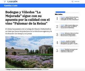 Bodegas y Viñedos La Mejorada sigue con su apuesta por la calidad con el vino Palomar de la Reina